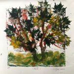"Howe- ""Japanese Maple""- Linoleum block print w/acrylic"